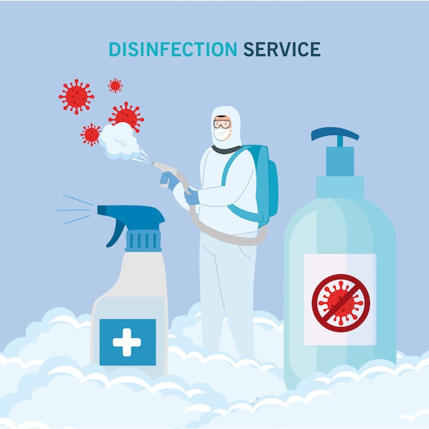Man with protective suit spraying  virus and sanitizer bottles Premium Vector