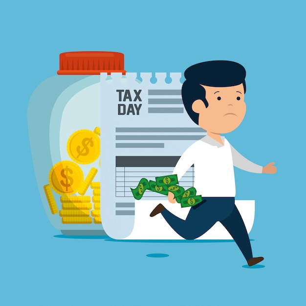 Man with service tax finance and coins Free Vector