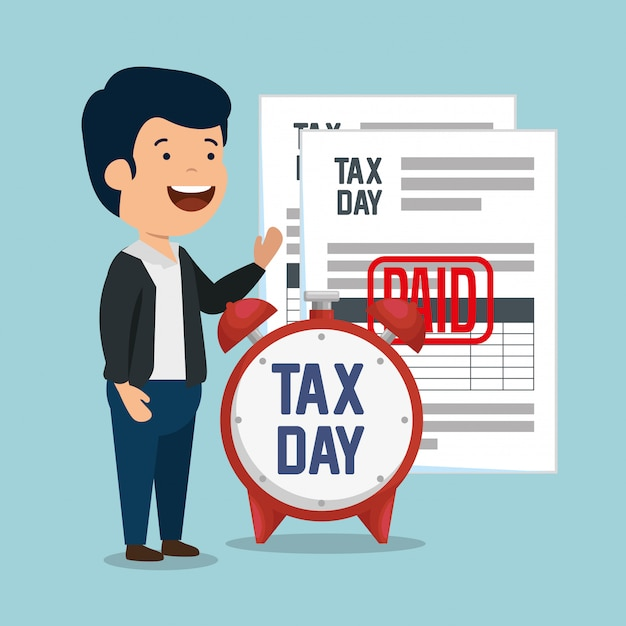 Man with service tax report documents Free Vector
