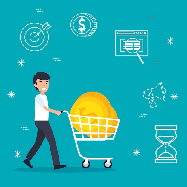 Man with shopping car and business coins Free Vector