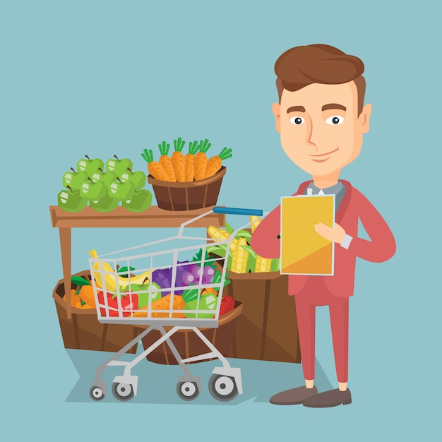 Man with a shopping list vector illustration. Premium Vector