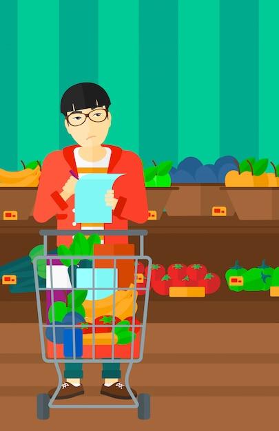 Man with shopping list Premium Vector
