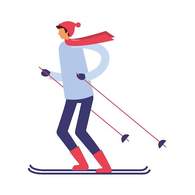 Человек с лыжами в зимний сезон Premium векторы