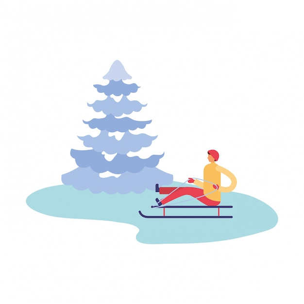 Man with sled and pine tree winter season Premium Vector