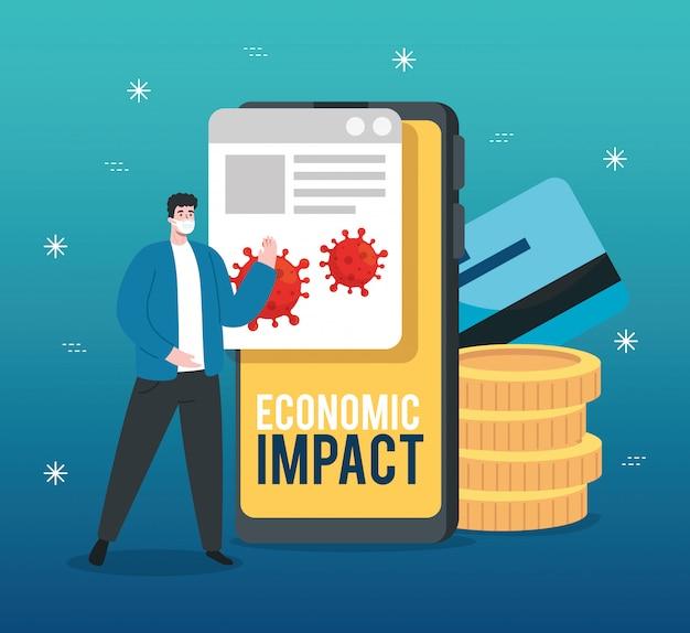 Uomo con smartphone e icone di impatto economico di covid 2019 Vettore gratuito