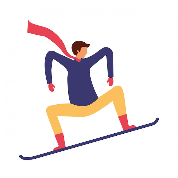 Человек со сноубордом в зимний сезон Premium векторы