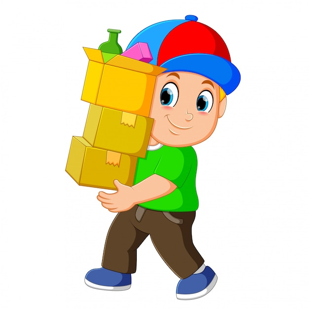Man with stacked boxes Premium Vector