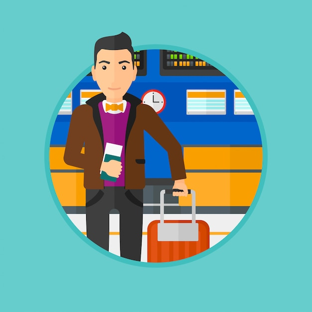 Man with suitcase and ticket at the airport. Premium Vector