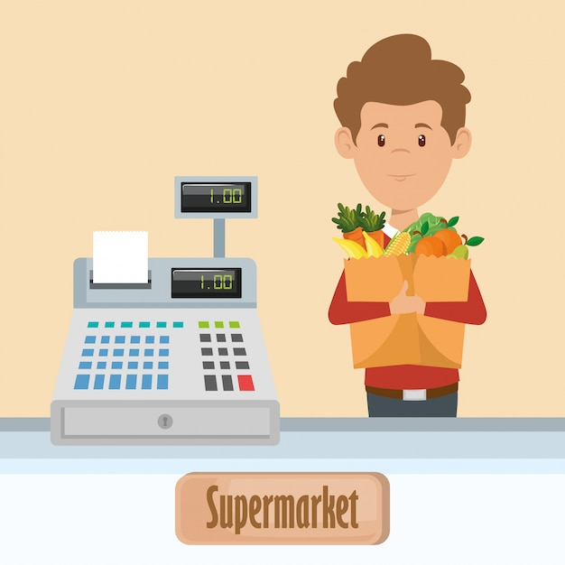 Man with supermarket groceries in shopping bag Free Vector