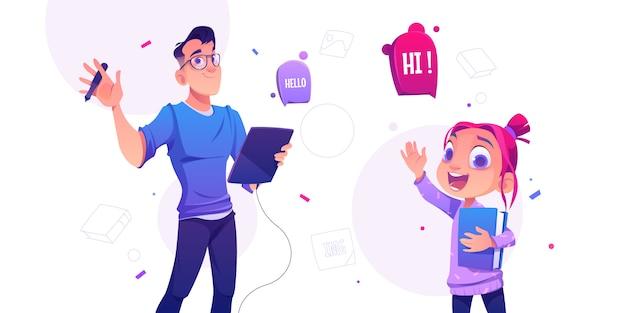 Человек с планшетом и маленькая школьница Бесплатные векторы