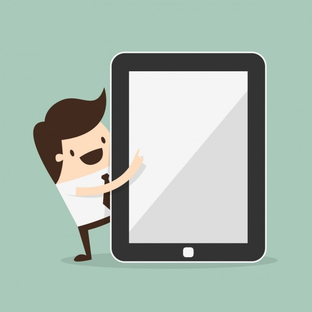 Man with a tablet Free Vector