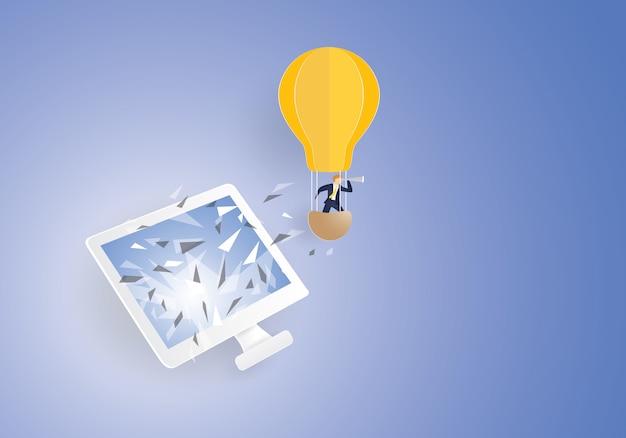 Man with telescope on light bulb Premium Vector