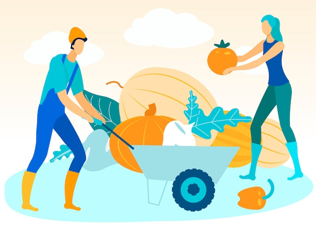 Man with trolley in hand. woman folds vegetables. Premium Vector