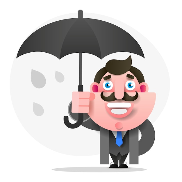 Man with umbrella Premium Vector