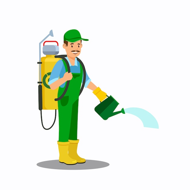 Man with watering can color vector illustration Premium Vector