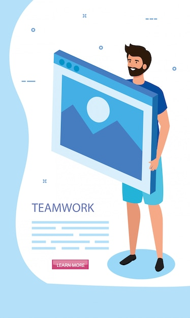 Man with web page in scene teamwork Free Vector