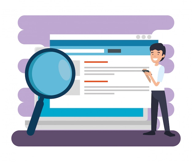 Man with website documents and magnifying glass Free Vector