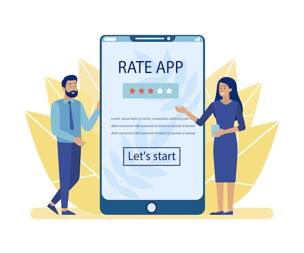 Man and woman advertising rate app for mobile Premium Vector