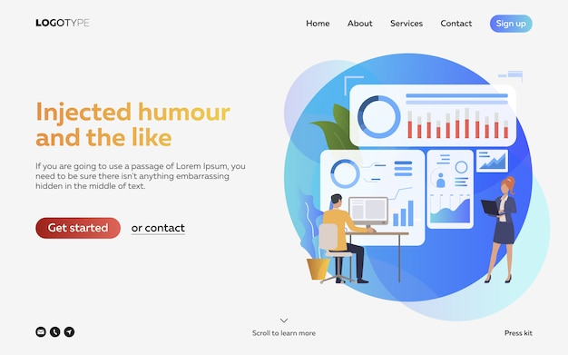 Man and woman analyzing infographics landing page Free Vector