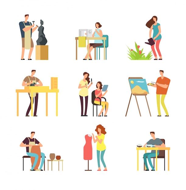 Man and woman artists in art design field. sculptor, artist, florist. Premium Vector