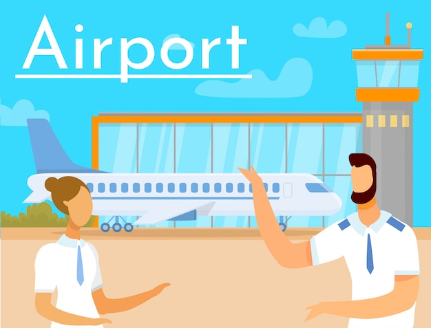 Man and woman on background aeroprot and airplane Premium Vector