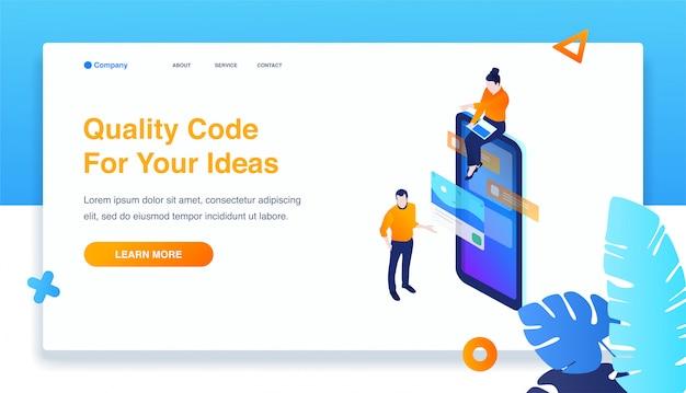 Man and woman build responsive mobile application Premium Vector