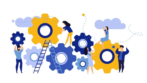Man and woman business organization with circle gear Premium Vector