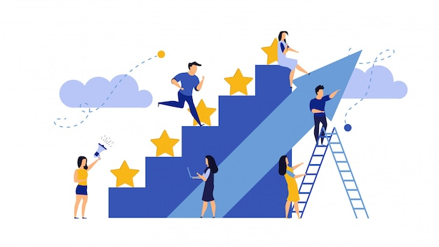 Man and woman, business reward satisfaction employee. Premium Vector