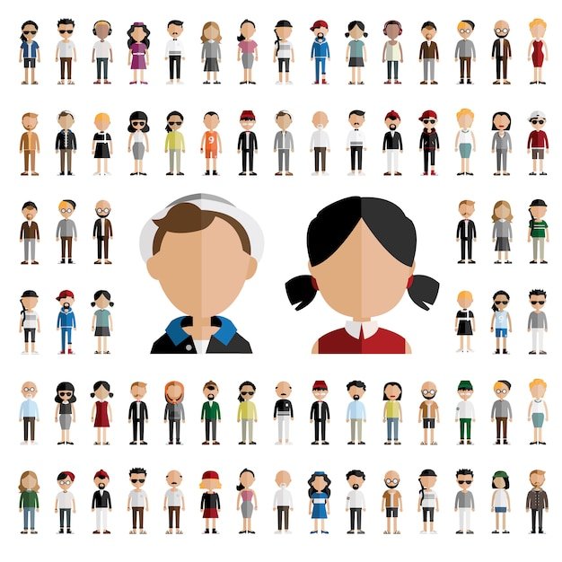 Man and woman caracters Free Vector