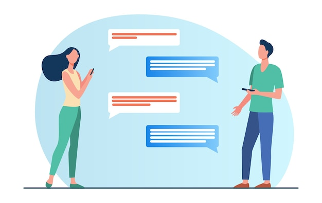 Man and woman chatting online. people using mobile phones, speech bubble, distance flat vector illustration. communication, internet Free Vector