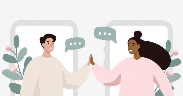 Man and woman chatting. Premium Vector