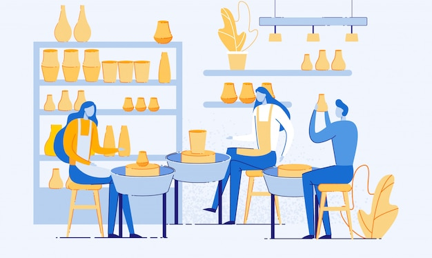 Man and woman creating pots and pottery workshop. Premium Vector