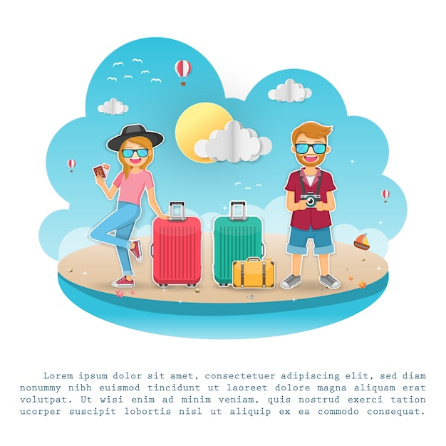Man and woman cute cartoon traveler with luggage on background. Premium Vector