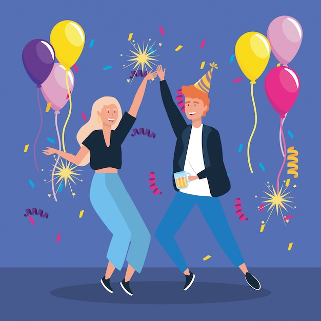 Man and woman dancing with balloons and sparklers fireworks Free Vector