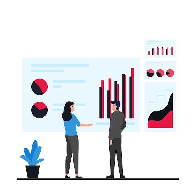 Man and woman discuss about presenting infographic metaphor of data information. Premium Vector