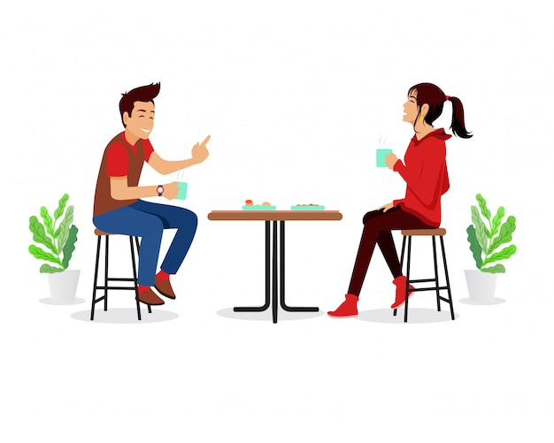 Man and woman drinking coffee in a cafe vector flat illustration.  time in the cafeteria. couple in cafe Premium Vector