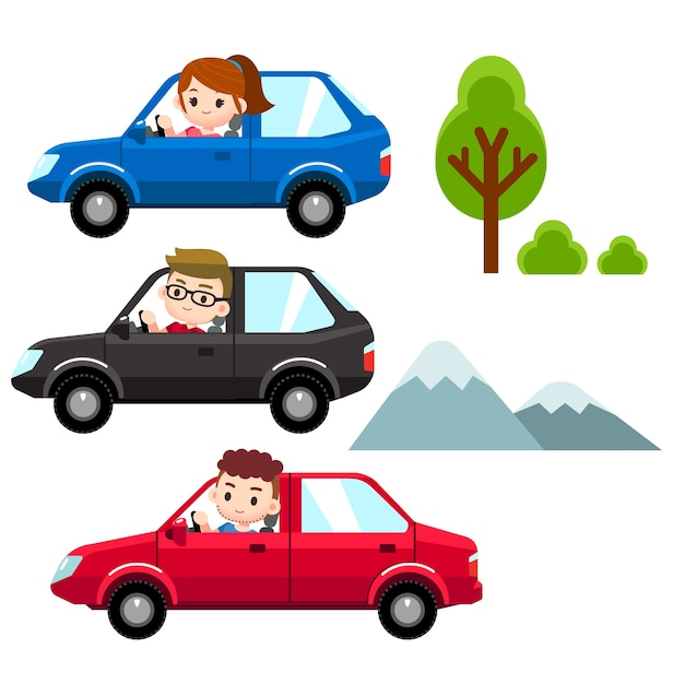 man, woman driving different cars Premium Vector