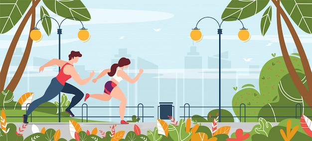 Man and woman engaged in fitness running in park banner Premium Vector