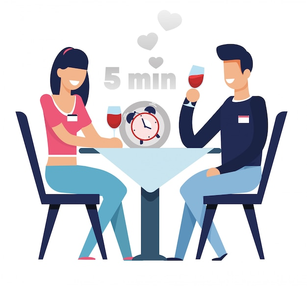 Man and woman on fast dating in 5 minutes cartoon Premium Vector