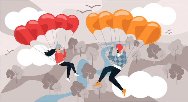 Man and woman fly down with parachute Premium Vector
