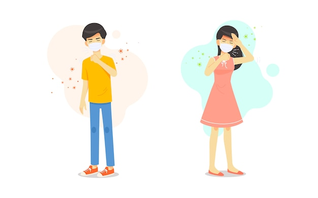 Man and woman have sick headache and sneeze cough Premium Vector