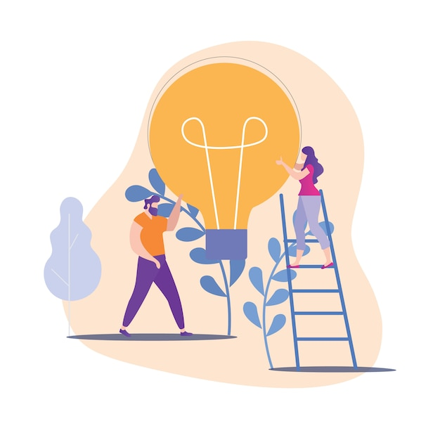 Man and woman hold big yellow lamp in hand. Premium Vector
