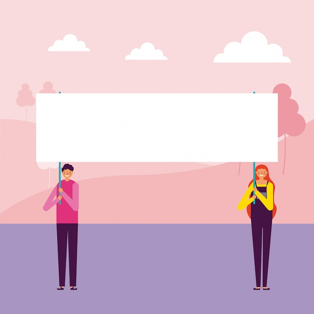 Man and woman holding banners Free Vector