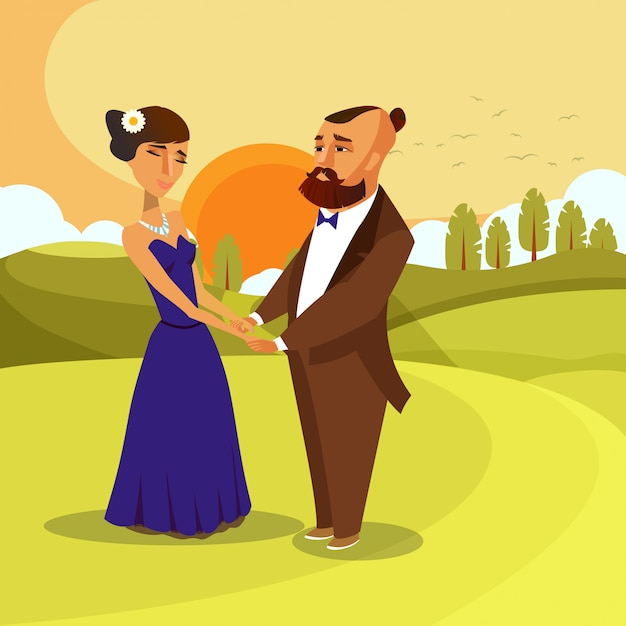 Man and woman holding hands cartoon characters. Premium Vector