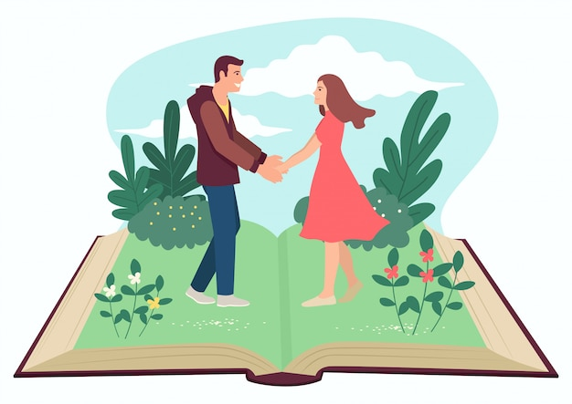 Man and woman holding hands on open book Premium Vector