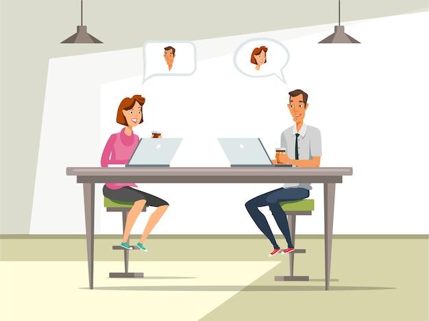 Man and woman at job interview  illustration. Premium Vector