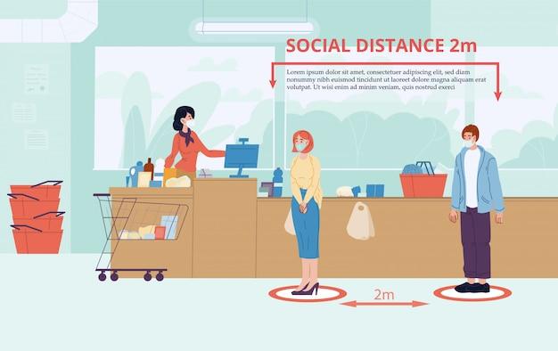 Мужчина женщина держать социальную дистанцию два метра в магазине Premium векторы