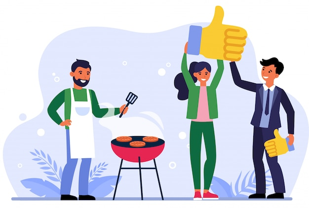 Man and woman liking barbeque restaurant Free Vector