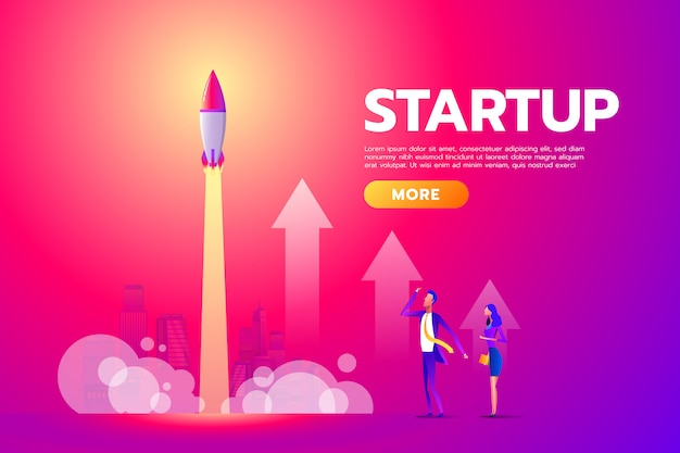 Man and woman looking, startup, rocket launch. Premium Vector