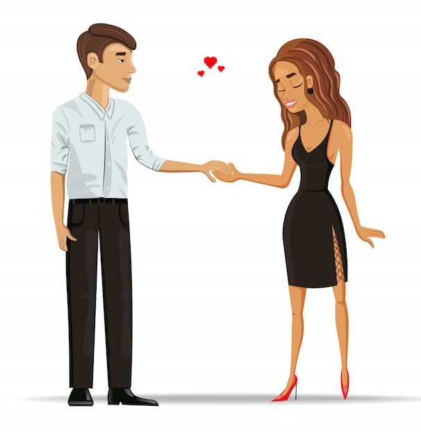 Man and woman in love holding hands Premium Vector